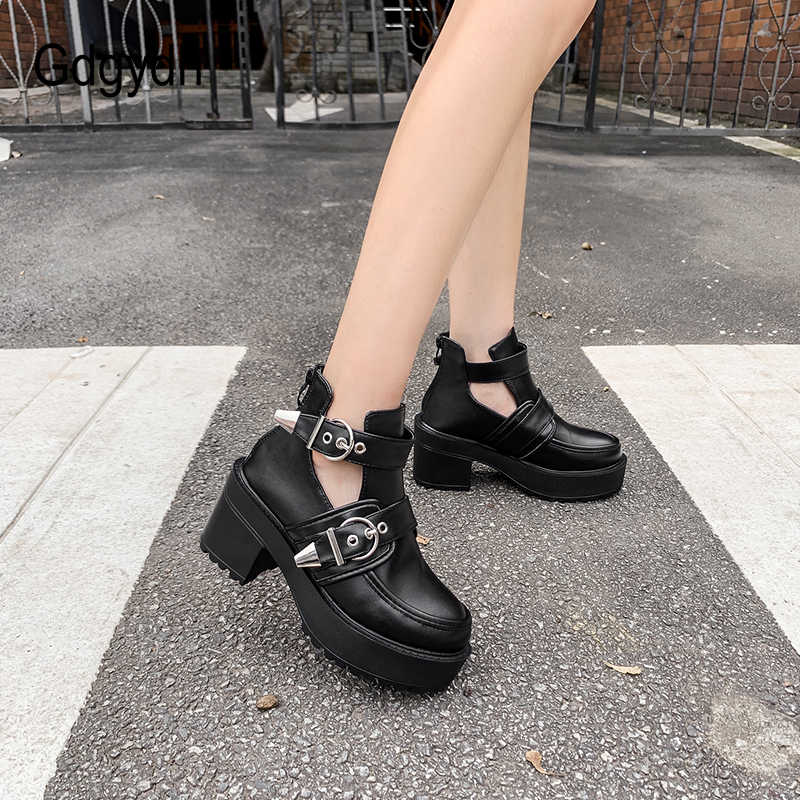 Gdgydh Sonbahar Çizmeler Kadınlar Için 2019 Yeni Varış Bahar platform ayakkabılar Orta Topuklu Seksi Toka Punk Siyah Deri Kalın Alt Damla