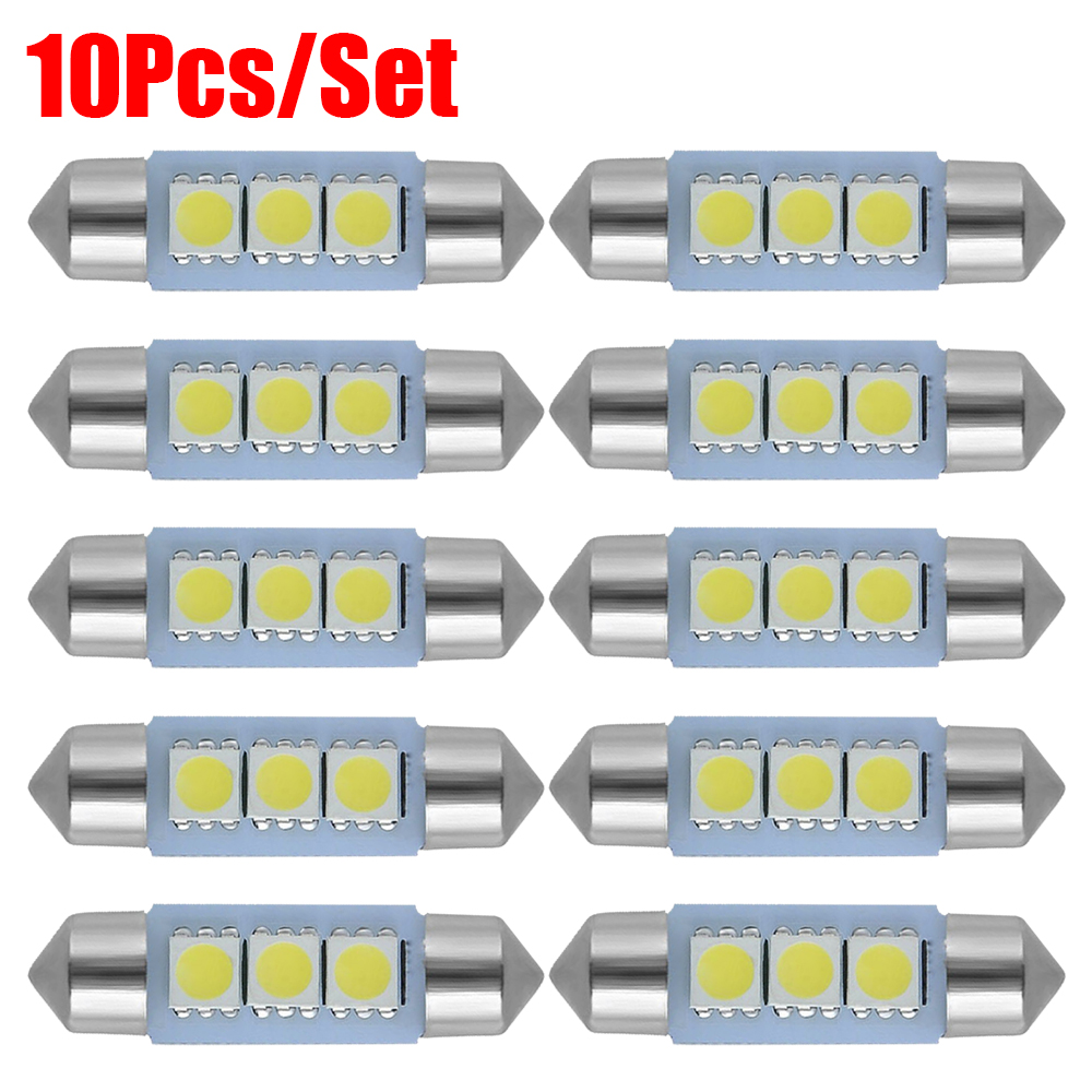 10 unids/set C5W luces LED C10W coche bombillas de domo Auto Festoon placa LampCar Luces de lectura interiores 12V de la luz blanca 31-41mm