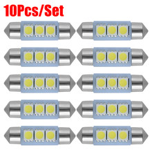 10 pçs/set c5w luzes led c10w carro cúpula lâmpadas festão placa de licença automóvel lampcar interior luzes de leitura 12v luz branca 31-41mm