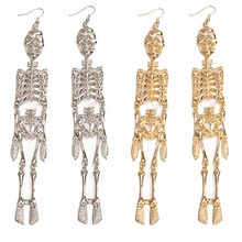 Creative Personalized Skull Skeleton Vintage Earring For Women Statement Exaggerated Tassel Long Drop oorbellen