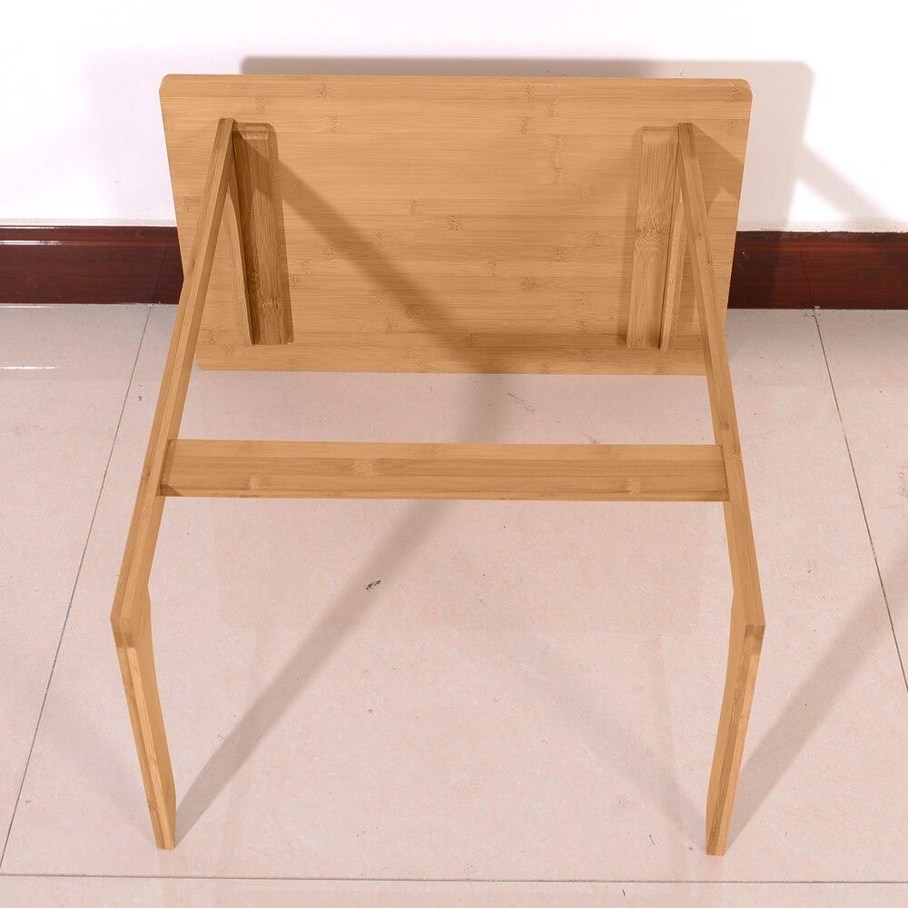 60x40x65cm en forme de L bambou canapé Table d'appoint sandale couleur bois côté ordinateur portable devoirs bureau paresseux Table pour la lecture - 4