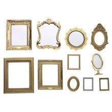 Nova escala 1:12 photo frames retro espelho para casa de bonecas decoração diy ornamento mobiliário estilo europeu casa boneca acessórios do vintage