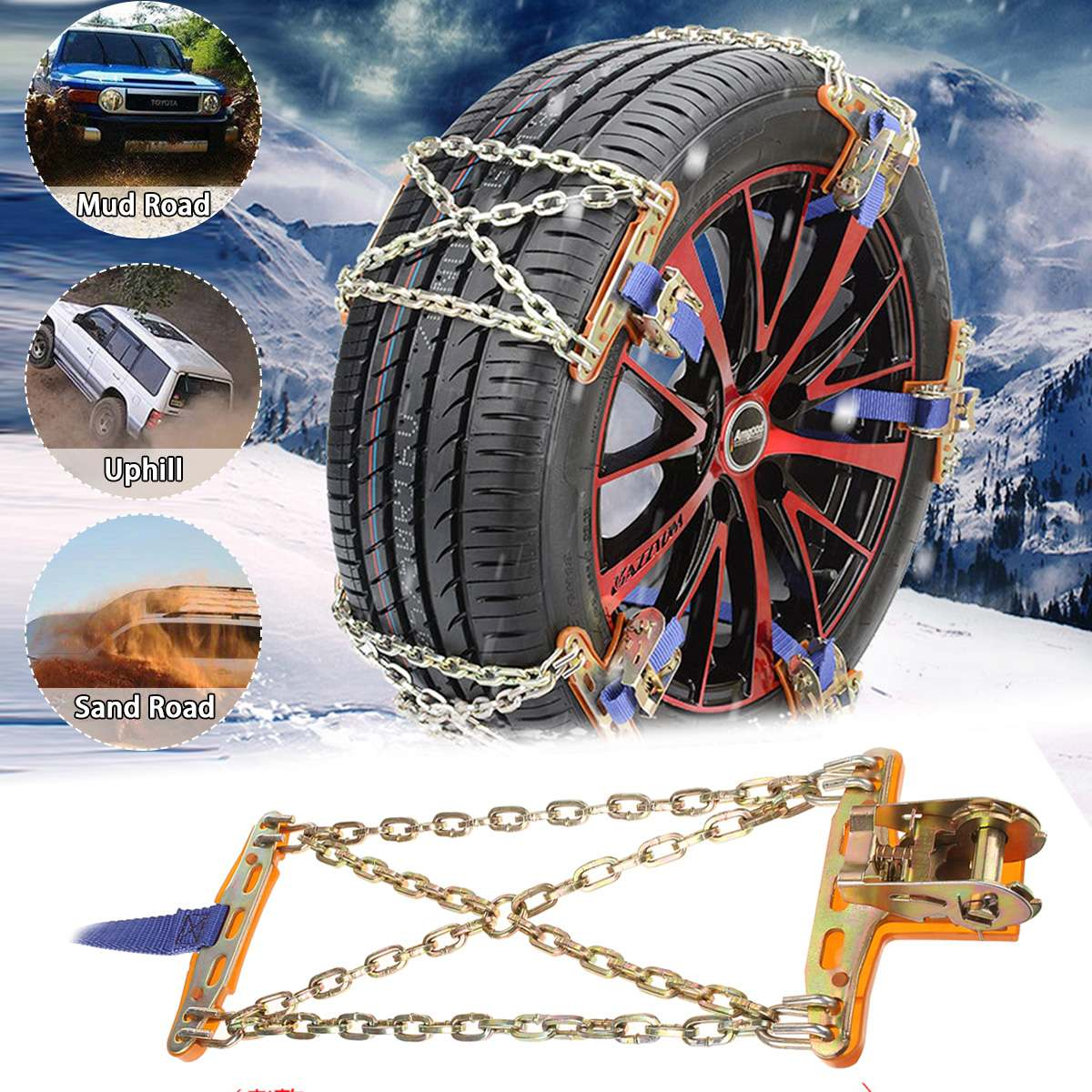 Updated Universal Steel Truck Car Wheels Tyre Tire Snow Ice Chains Belt Winter Antiskid Vehicles SUV Wheel Chain Mud Road Safety image