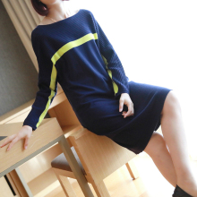 M-XXL Plus Size Contrast Casual Autumn Dress Women Long Sleeve Midi Knitted Sweater Dress Women Oversized Red Christmas Dress s xxl plus size corset blue knitted sweater dress women turn down collar casual elegant dress women midi long sleeve dresses