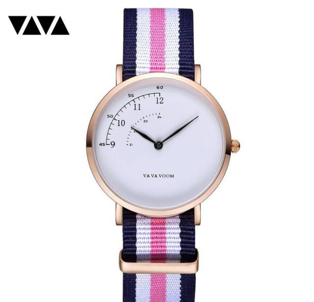แฟชั่นผู้หญิงไนลอนนาฬิกาสุภาพสตรีควอตซ์นาฬิกาข้อมือสายหนังทั้งหมดตรงกับชุดนาฬิกาผู้หญิง montre Femme 2019