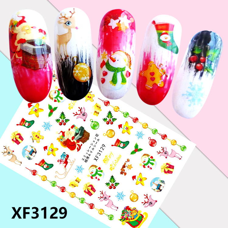 Christmas Nail Sticker Semi-Permeable Thin Gum Nail Sticker Straight Connector Stickers XF3129