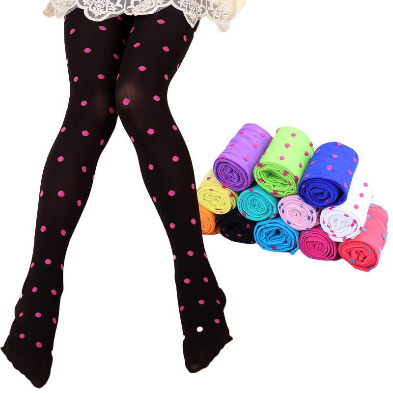 Girls Ballet Dance Pantyhose Children A Thin Section Fashion Velvet Tights Baby candy color dot Stockings For kids height 85-125