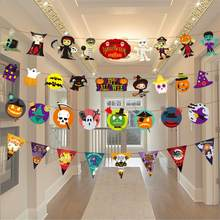 Halloween Dekoration Papier Kette Girlande Banner Kürbis Bat Spinne Fahnen Girlande Banner Outdoor Party Ornament Dekor(China)