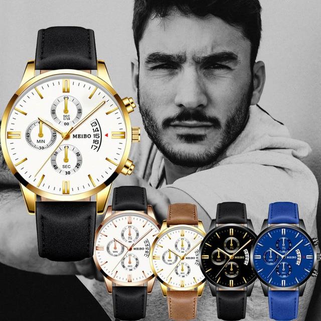 Gentleman  Business Gold Leather Strap Wrist Watches