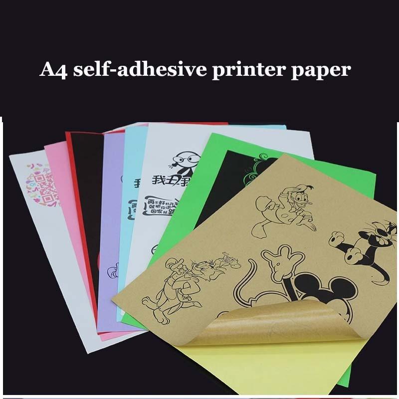 50 Sheets A4 Laser Inkjet Printer Copier Craft Paper White Self Adhesive Sticker Colorful Label Matte Surface Paper Sheet