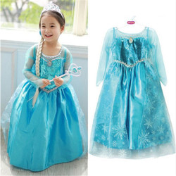 3-8years Blue Baby Girls Dress Kids Frozen Costume Dress Snow Princess Queen Dress Up Party Gown Cosplay Tulle Dresses For Girls