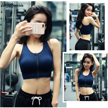 Women Sport Bra Top Black Blue Padded Brassiere Fitness Running Sports Tank Top Female Sport Yoga Bra Push Up Sports Zip Bra S-L 1