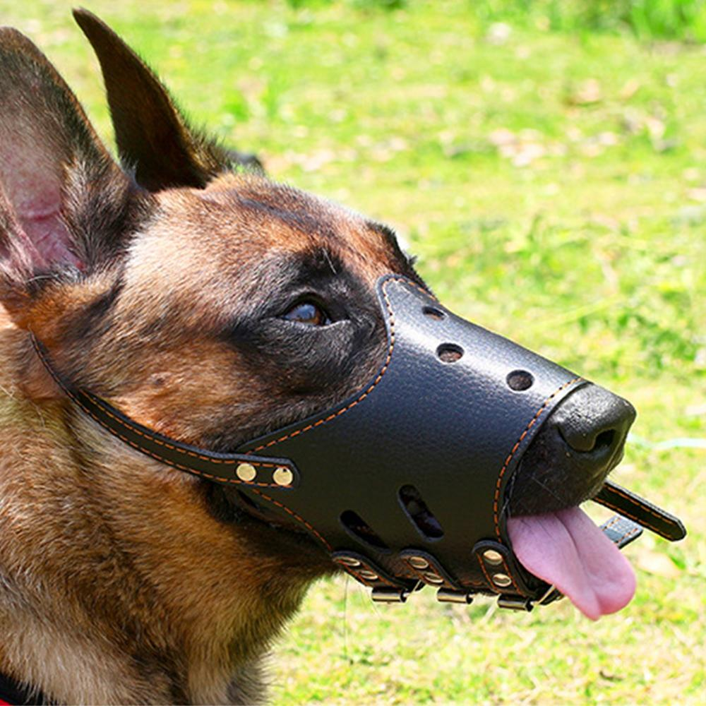 Pet Dog Muzzle Adjustable Breathable Dog Mask PU Leather Anti Bark Bite Chew Safety for Small Large Dogs Mouth Soft Muzzle