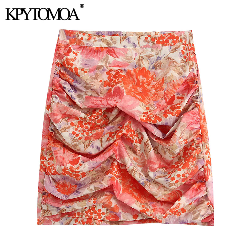 KPYTOMOA Women 2020 Chic Fashion Floral Print Draped Mini Skirt Vintage High Waist Side Zipper Female Skirts Casual Faldas Mujer