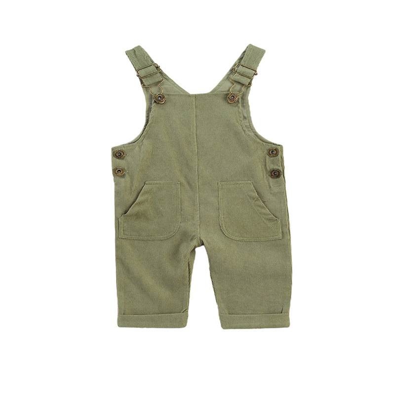 2021 Baby Boys Suspender Pants with Buttons,  Solid Color Loose Fit Trousers with Pockets, Toddler Adjustable Buckle Outfit