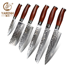 цена на 6 pcs kitchen knives set damascus steel chef knife sets with dalbergia wood handle Japanese VG10 knife best cooking knives set