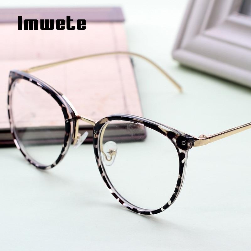Imwete Vintage Myopia Eyeglasses Frame Women Transparent Lens Classic Optial Eye Glasses Retro Metal Designer Spectacles Frames