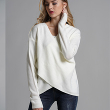 ALLNeon Criss-Cross Front V-neck Female Sweaters Loose Knitted Solid Pullover Ladies Fitted Jersey Autumn Winter Jumpers Casual white self tie design cross front v neck knitting jumpers