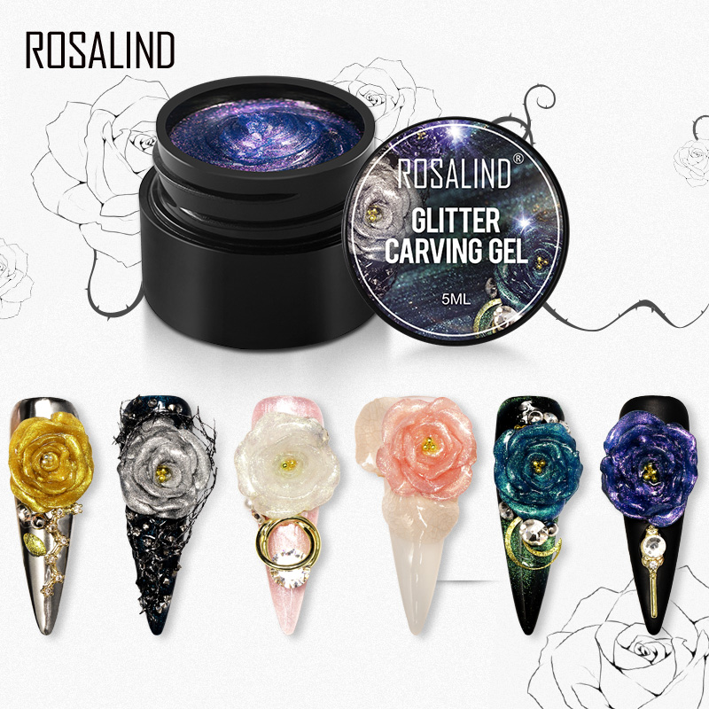 ROSALIND Glitter Gel Nail Polish Carving For Nail Art Semi Permanent Soak Off Manicure Nail UV LED Hybrid Varnishes Carving Gel