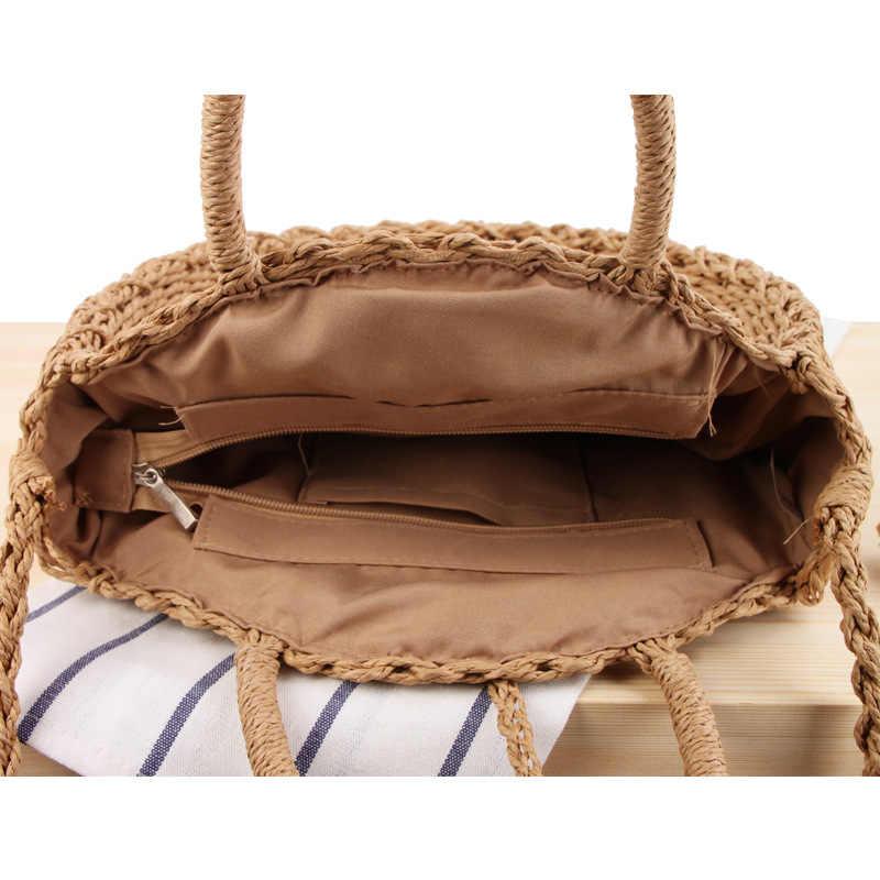 Novo feriado praia saco tecido saco de ombro rodada dual-use bolsa de palha ocasional selvagem