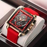 2021 nuovi orologi da uomo LIGE orologio sportivo quadrato vuoto di lusso delle migliori marche per uomo orologio da polso al quarzo impermeabile con cinturino in Silicone di moda