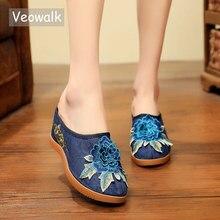 Veowalk Cotton Flower Appliques Women Canvas Wedge Slippers Summer Retro Ladies Med Heel Slides Mules Comfort Platforms Shoes