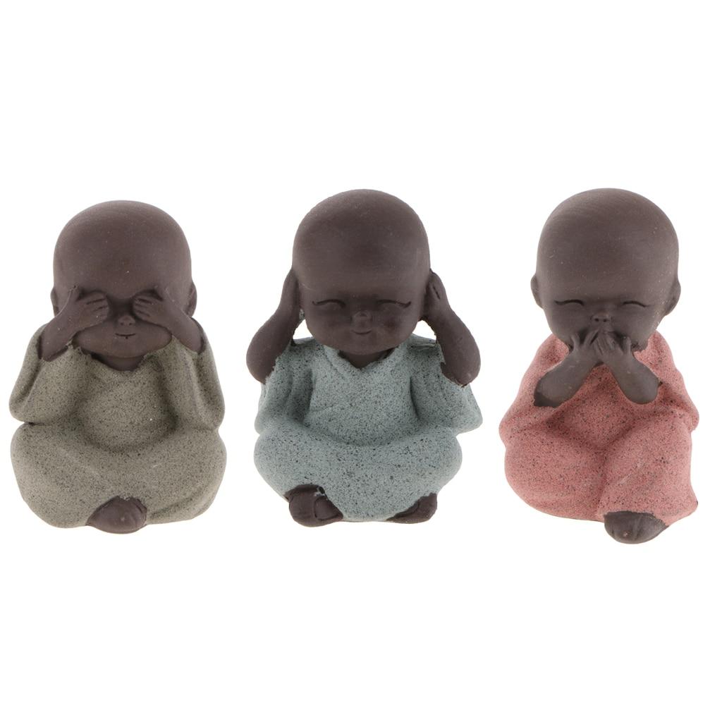 3 Pcs Cute Small Buddha Statue Monk Figurine Chinese Gongfu Tea Ornaments Ceramic Little Monk Tea