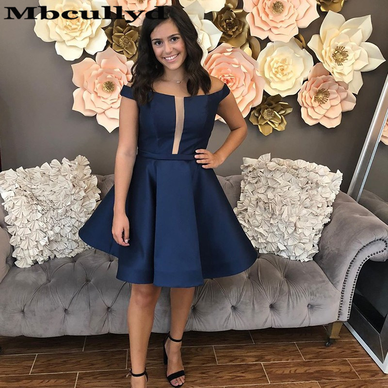 Mbcullyd Navy Blue Satin   Prom     Dresses   2019 Short Backless vestidos de graduacion largos Cheap Under 100 Graduation Party Gowns