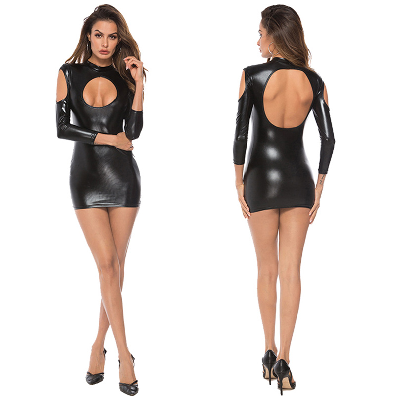 2019  Women Pole Dance Wet Look Erotic Clothes Dress Faux Leather Leotard Sexy Latex Bodysuit PVC Dress Temptation Uniforms