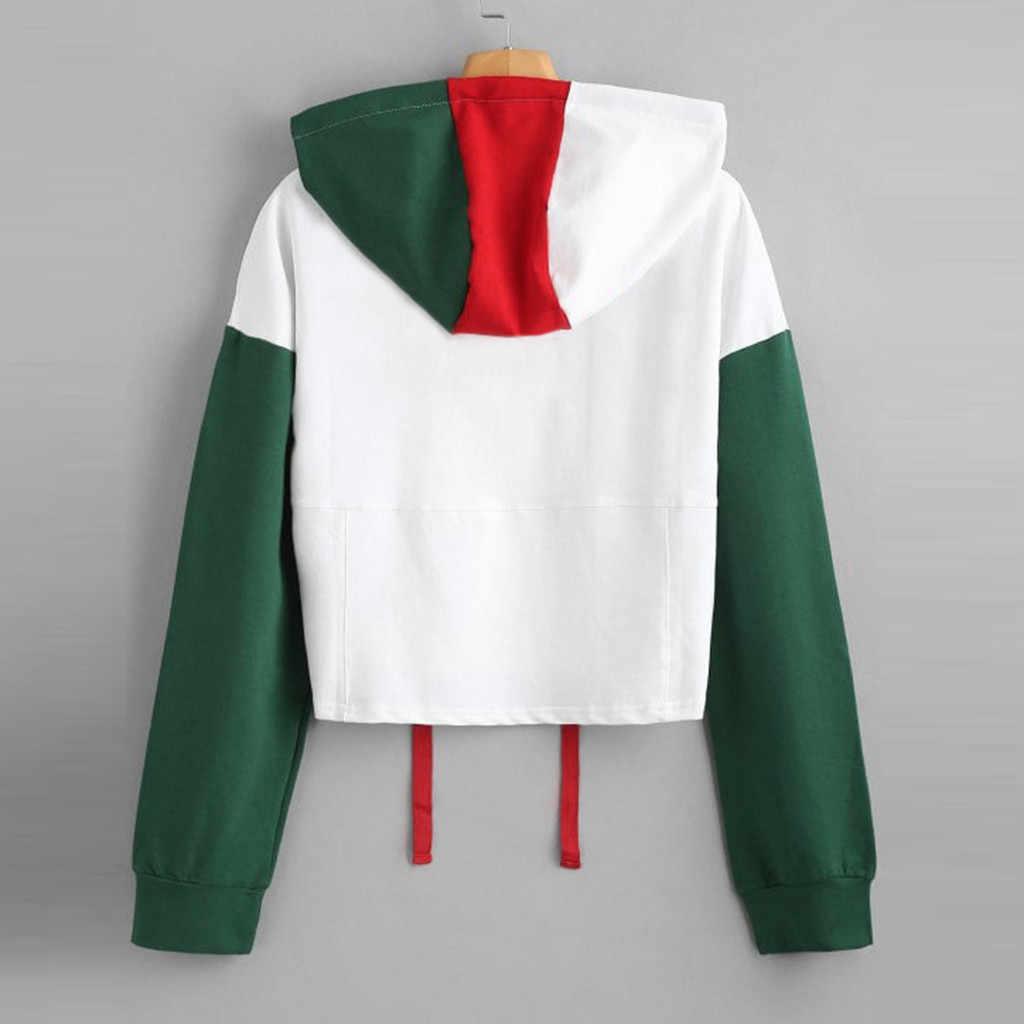 Womail Kaus Hoodie Patchwork 2019 Wanita Kpop Hoodie Lengan Panjang Musim Gugur Pendek Pullover Berkerudung Harajuku StreetwearT722