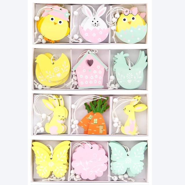 9 sztuk wielkanocny królik drewniany naszyjnik dekoracje DIY drewno wiszące rzemiosło Cute Bunny wielkanoc ozdoby zaopatrzenie firm drewno prezent rzemiosła