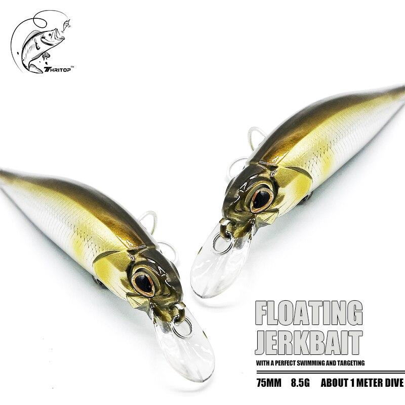 Thritop flutuante minnow isca item quente 75mm 8.5g 1 metro mergulho 4 cores tp145 isca dura pesca tackles