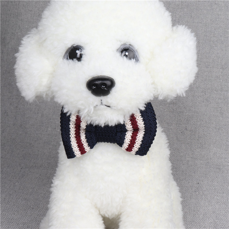Amin Lattice Cross Border For Knitted Pet Bow Neck Ring Pu Fleece Dog Neck Ring Manufacturers Direct Selling