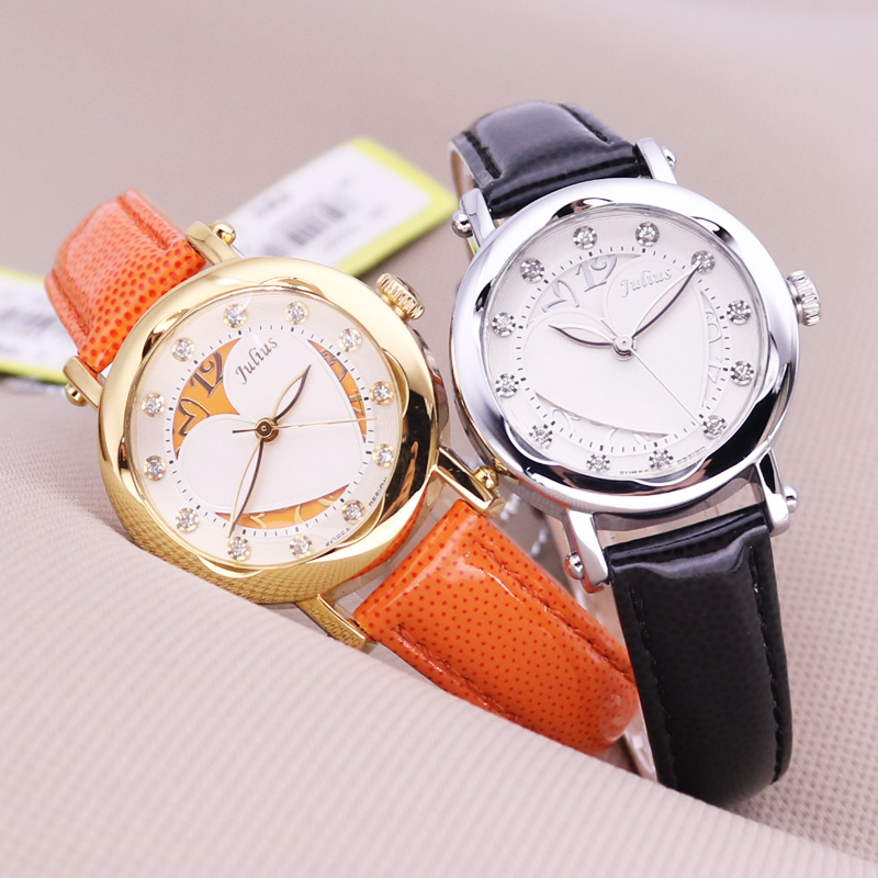 New Julius Lady Woman Wrist Watch Retro Fashion Hours Korea Dress Bracelet Hollow Heart Leather Student Girl Birthday Gift