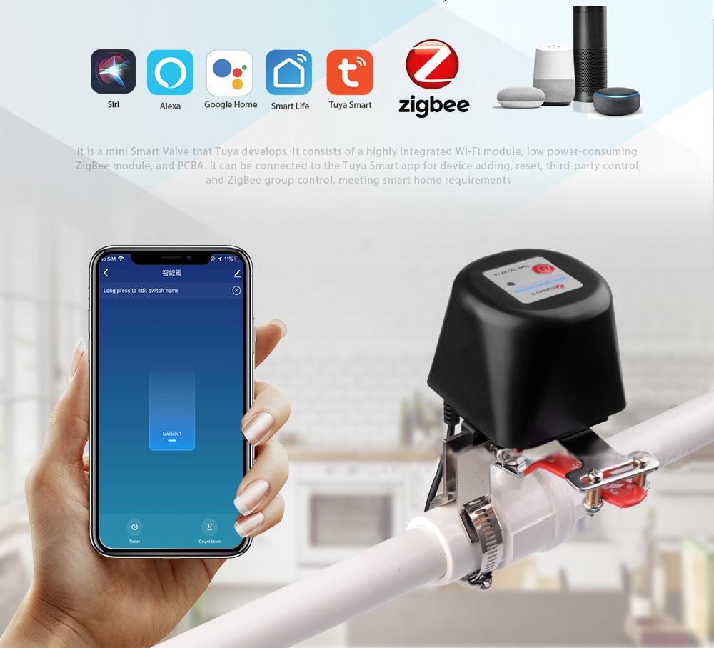 Válvula de Água Controle sem Fio Trabalho com Alexa Tuya Zigbee Inteligente Desligado Controlador Sensor Ligação Google Casa 3.0 Gás