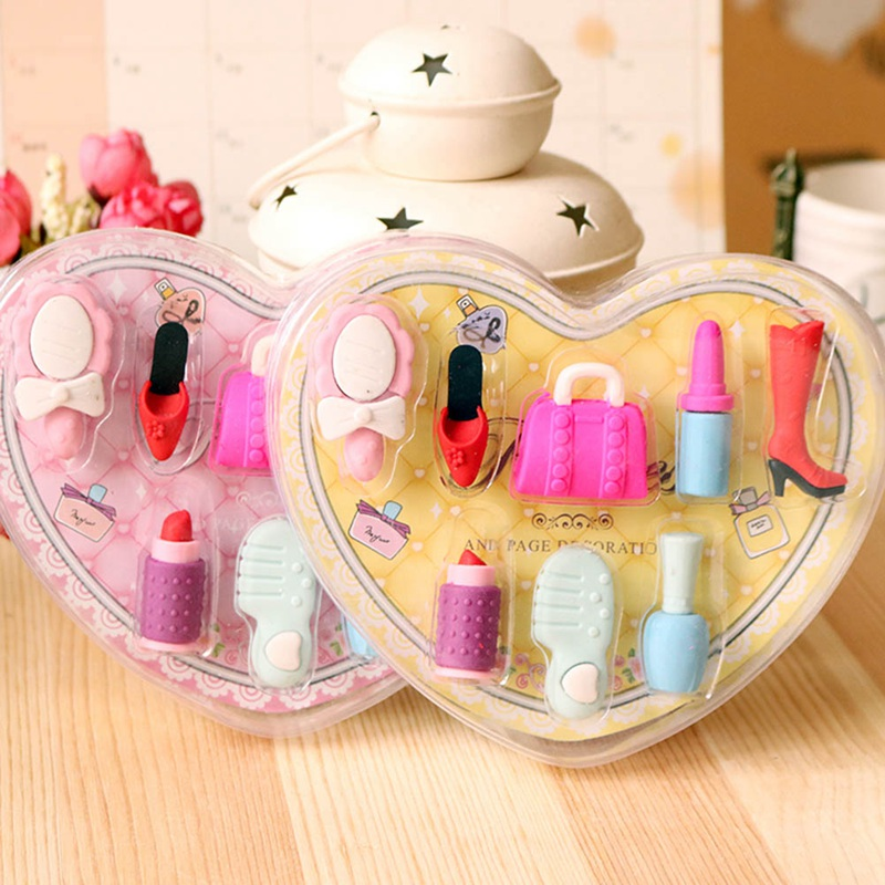 8 Pcs/box Fashion Girl Cosmetics Pencil Eraser Heart Shaped Gift Box Perfume Bag Rubber Eraser Kawaii Stationery School Supplies
