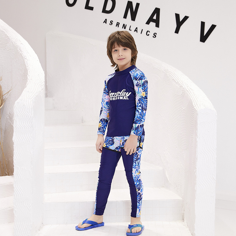 2019 New Style Kids Swimming Training Suit Zhuo Lang Industry CHILDREN'S Swimwear Split Type Long Sleeve Swimming Diving Suit