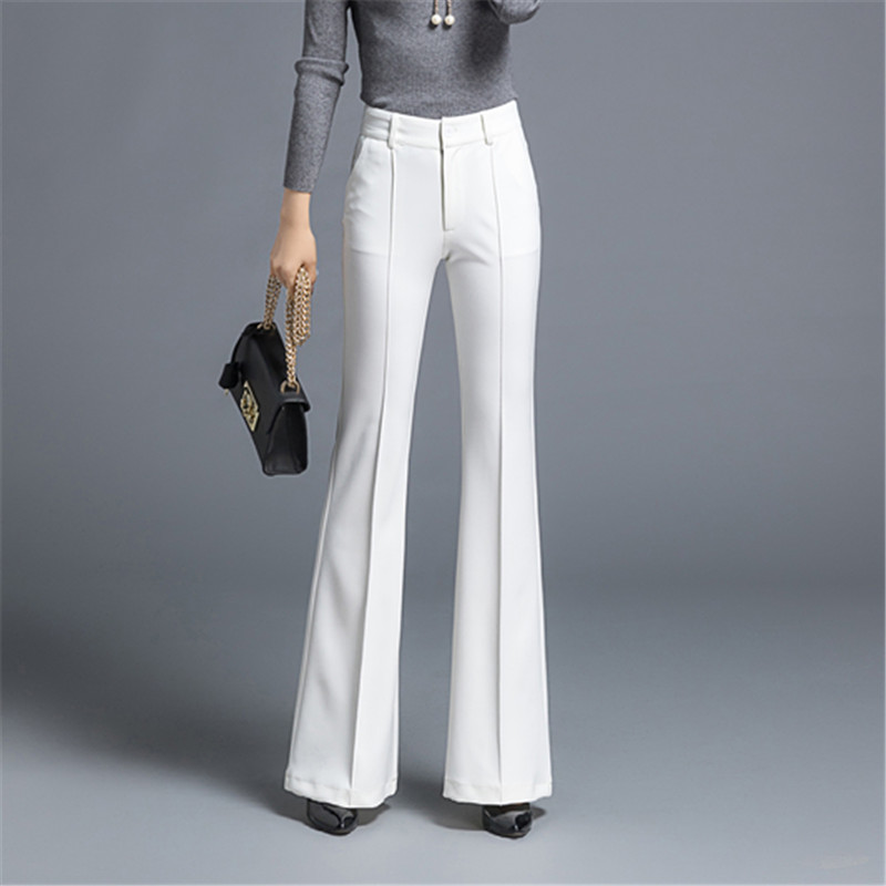 Spring Thick Flared Pants Three-dimensional Suit Pants High Waist Stretch Small Wide Leg Pants Was Thin Fashion Casual Trousers