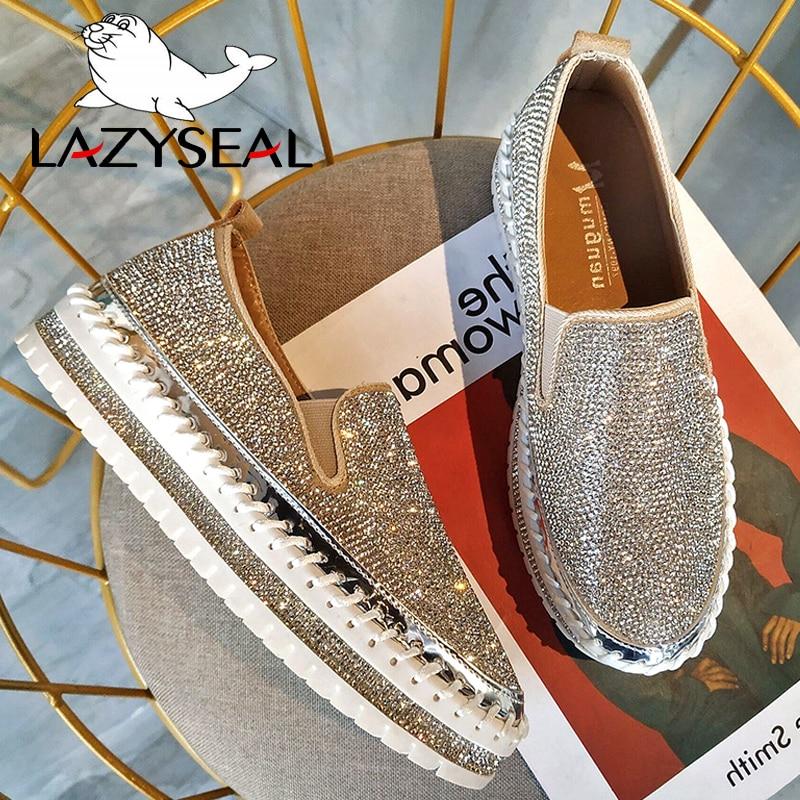 LazySeal Crystal Diamonds Women Flats Bling Woman Shoes Rhinestone Ladies Casual Shoes Round Toe Slip-on Platform Shoes