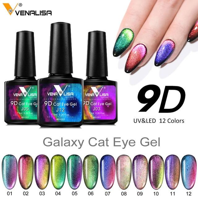 New Nail Art Design Manicure Venalisa 7.5Ml Soak Off Enamel 9d cat eyes magnetic Gel Polish UV Gel Nail Polish Lacquer Varnish 4