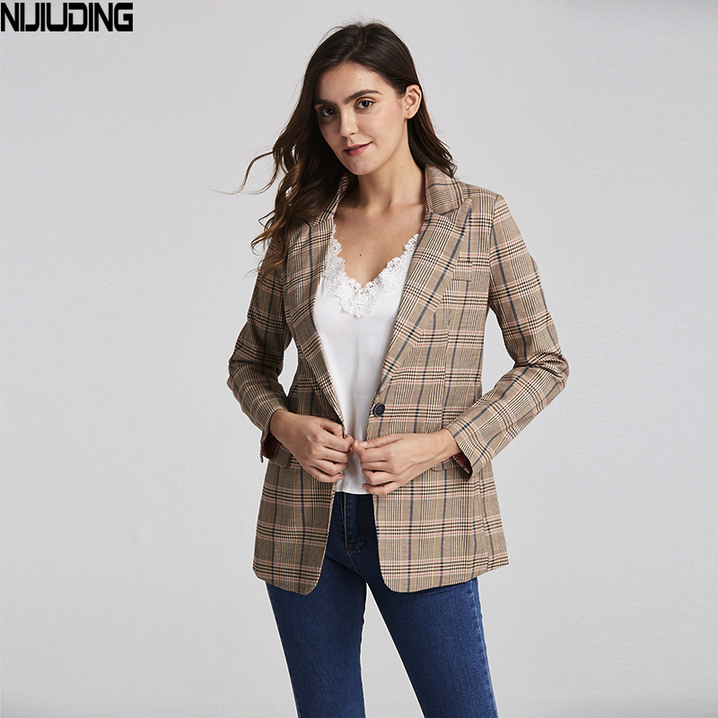 2019 Vintage Single Button Plaid Women's Blazer Pockets Jackets Female Retro Suits Coat Feminino Blazers Outerwear High Quality