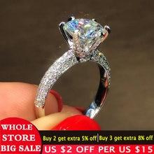 Женское Обручальное кольцо из серебра 100% пробы с цирконием