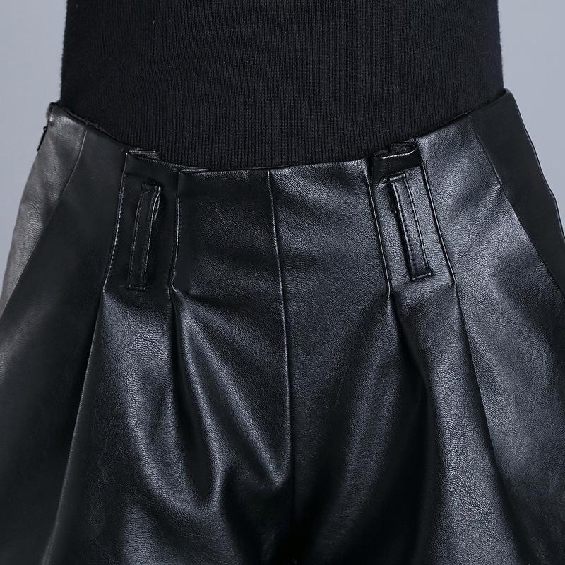 New Winter Women Wide Leg Shorts Korean Style Slim Fit PU Leather Shorts Female Fashion Solid High Waist Shorts Plus Size M-4XL