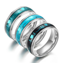 New Arrival Luminous Ring Stainless Steel Rings Man Ring Blue Heartbeat Glowing Rings Couples Jewelry