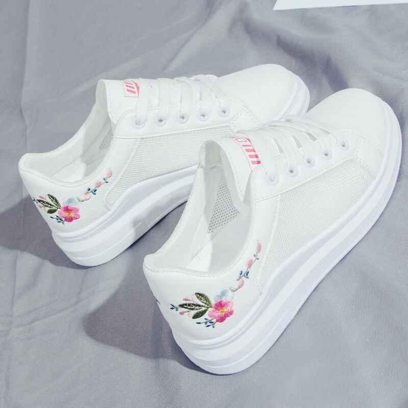 Kadın ayakkabı İlkbahar beyaz rahat Sneakers nefes Flats dantel-up çiçek kadın rahat ayakkabılar Zapatillas Mujer tyu789