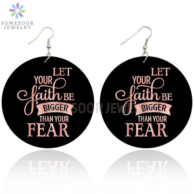 SOMESOOR Both Sides Printed Inspire Black Sayings Wooden Drop Earrings Fear Let Faith Bigger Writings Art Loops For Women Gifts