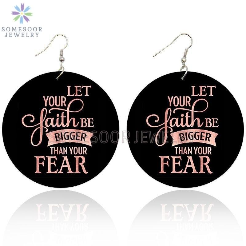 SOMESOOR Both Sides Printed Inspire Black Sayings Wooden Drop Earrings Fear Let Faith Bigger Writings Art Loops For Women Gifts