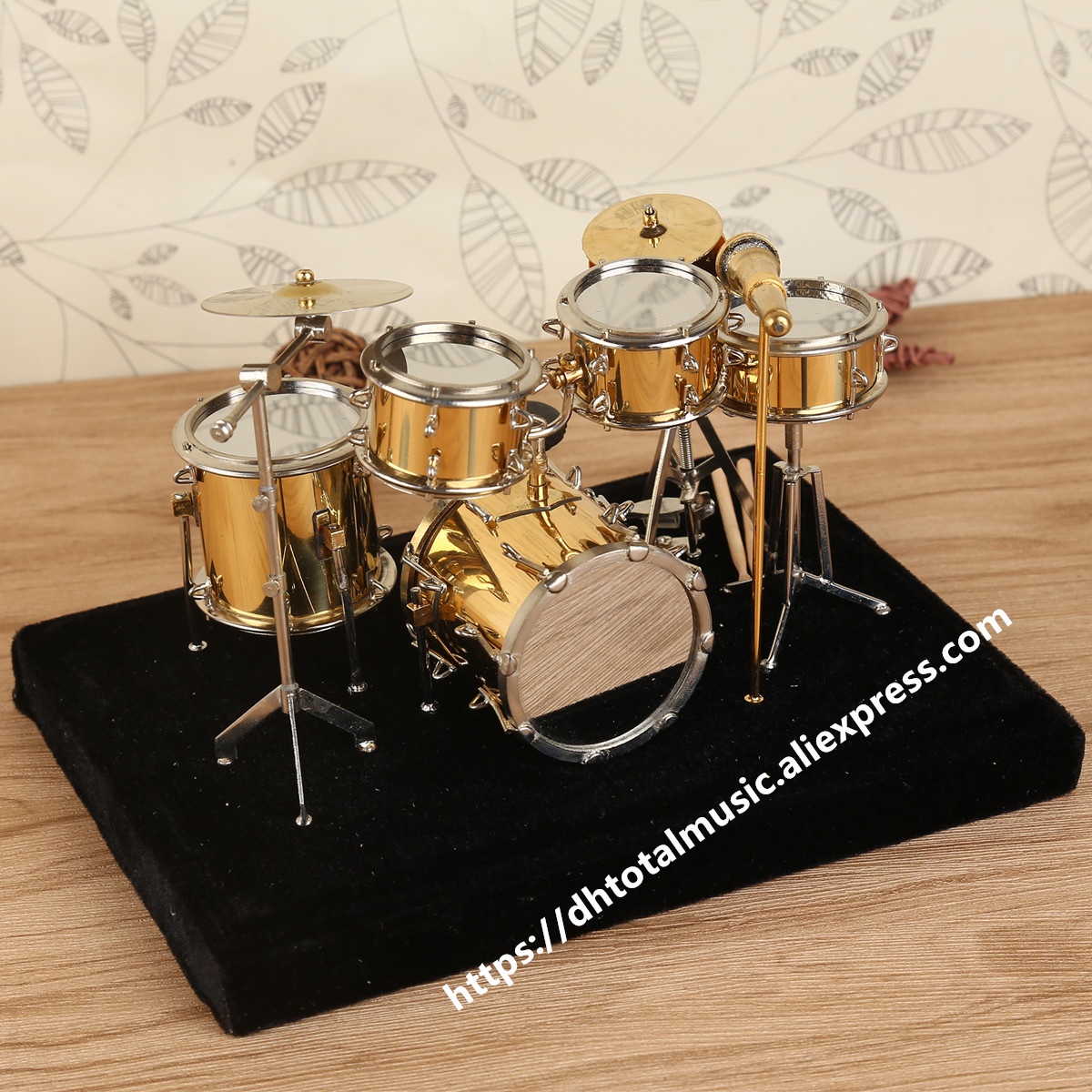 Ударная мини-установка Миниатюрная модель барабана, миниатюрная медная коллекция мини-музыкальных инструментов