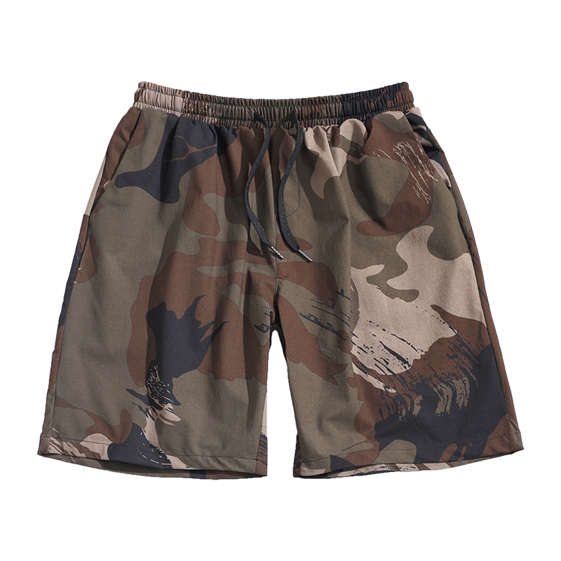 Beach Shorts Men Pocket Summer Casual Plus Size Military Vintage Fashion Cotton Stretch Camouflage Bermuda Korean Clothing EE5DK