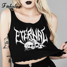 Fitshinling Punk Grunge Women Tanks Tops Letter Skull Print Black Crop Top Female Sleeveless Shirt Goth Dark Slim Tank 2019 New